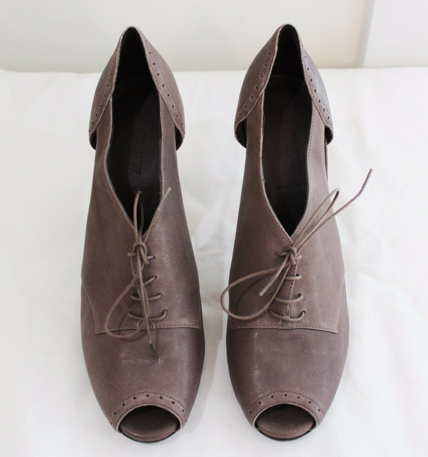 New J CREW Brown KEATON CUT-OUT HIGH HEEL OXFORDS Sz 9 Womens Style 36929
