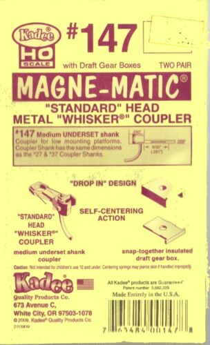 HO Scale Model Railroad Trains Kadee Whisker Magnetic Knuckle Couplers #147 2 Pr