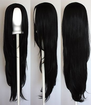 40'' Long Straight with no Bangs Black Cosplay Wig + wigs ...