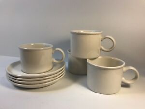 Midwinter China STONEHENGE WHITE Cups /& Saucers Two Sets