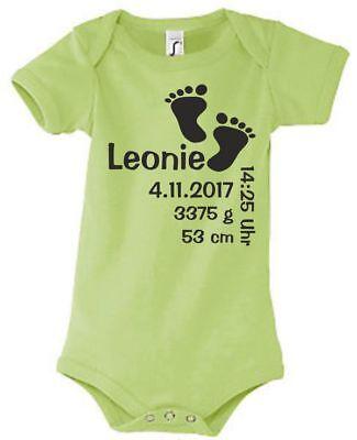 Babybody Strampler Geburt bedruckt Druck Größe Datum Gewicht Wunsch Name 56