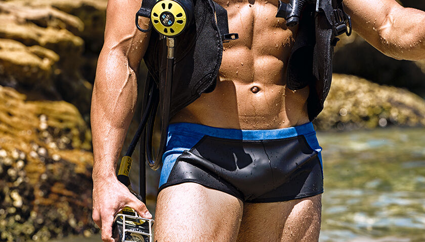 Neoprene rubber wet suit speedo swimsuit diving brief trunks Aussie Bum scuba L