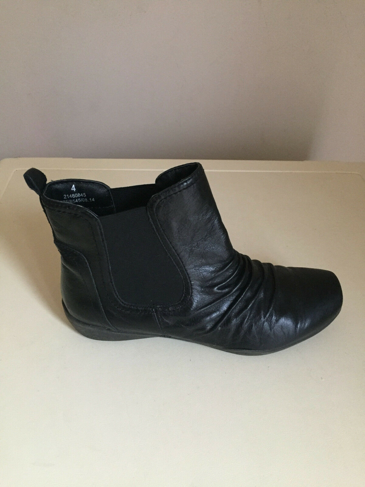 WOMEN ANKE LEATHER FOOTGLOVE BLACK FOOTGLOVE LEATHER Stiefel SIZE 4 MARKS & SPENCER 19f48d