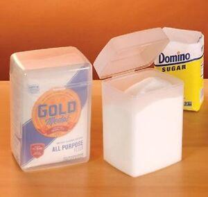 2 piece set sugar flour saver kitchen food storage container with hinged lids ebay. Black Bedroom Furniture Sets. Home Design Ideas