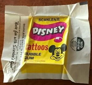Scanlens-1972-DISNEY-TATTOOS-Wax-Wrapper-MICKEY-MOUSE-Scarce