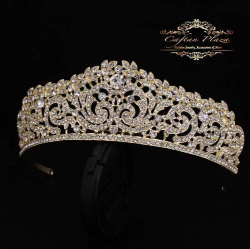 Tiara m Diadem corona pedrería cristal pelo joyas Rosegold novia joyas