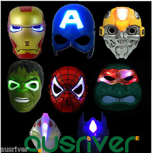 Kids Children Spiderman Superhero LED Face Eye Mask Halloween Masquerade Party