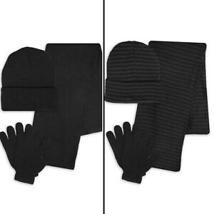2-Complete-Women-039-s-or-Men-039-s-3-Piece-Set-Hat-Scarf-Gloves-in-Solid-amp-Lines-Color