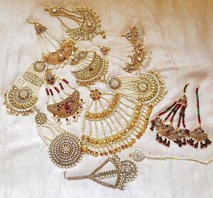 UK-SELLER-Indian-Gold-Silver-Jhomer-Jhumer-Tikka-Tika-Headpiece-Matha-patti-Set