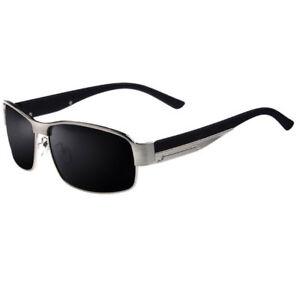 Polarisierte-Herren-Sonnenbrille-schwarz-silber-Metall