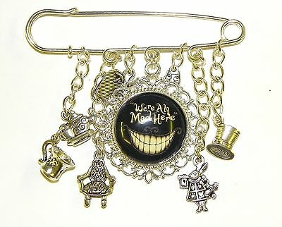 Alice in Wonderland Mad Hatter Tea party Silver Pin Brooch