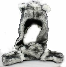 Wolf Cosplay Full Animal Warm Hat/Headdress Faux Fur(Hat,Scarf,Mittens) Caps