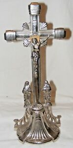 ANTIQUE-LGE-METAL-CRUCIFIX-ALTER-CROSS-JESUS-RELIGIOUS-RELIQUARY-EASTER-NAIL