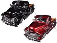 1951 Chevrolet Pickup Truck Lowrider Red & Black Set Of 2 1/24 Jada 96802-set
