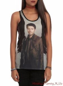 New-Supernatural-Castiel-Wings-Girls-Racer-Back-Tank-Top-Juniors-XS-Shirt-Black