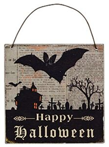 Halloween-Decor-Wall-Sign-Happy-Halloween-Ornament-Shabby-Antiqued-NEW-Bat