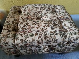 Details About Vintage Style Fl Tapestry Storage Footstool Used