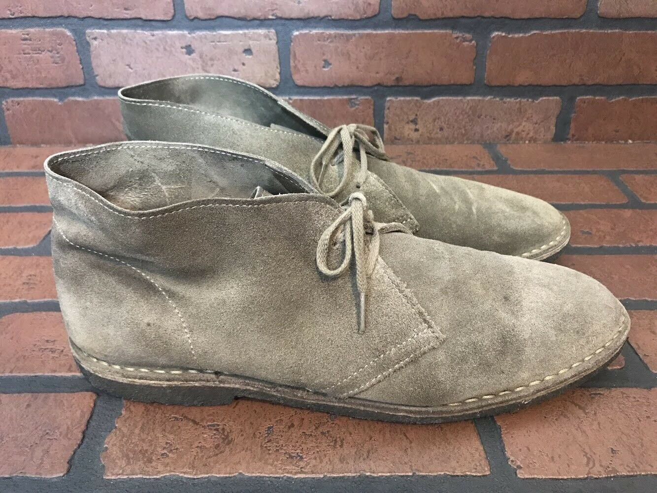 J. Crew Chukka Boots Beige Suede Leather Size 13 Made In Italy