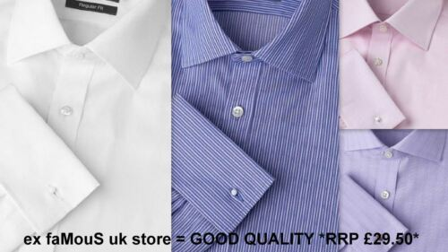 Mens Shirt Regular Fit Non Iron 100/% Cotton French Double Cuff Long Sleeve