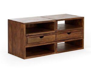Details Zu Lowboard Tv Regal 2 Schubladen Palisander Holz Massiv Mobel Neu Cube