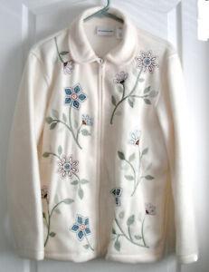 Alfred-Dunner-Womens-Fleece-Zippered-Cream-Jackets-size