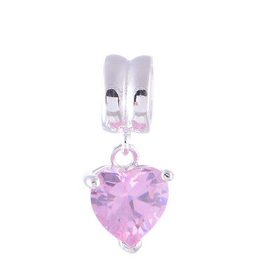 Genuine Authentic Sterling Silver PINK LOVE HEART Dangle Charm Bead for Bracelet