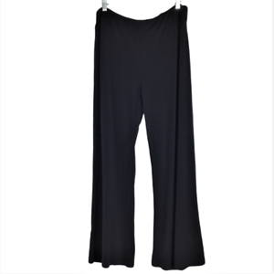 American Glamour Badgley Mischka Womens M Pull On Wide Leg Pants Relaxed Black