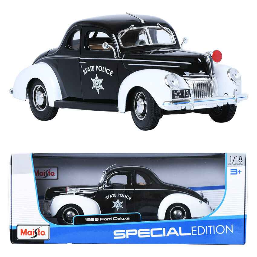Maisto 1 18 1939 Ford Deluxe Police Display Miniature Car