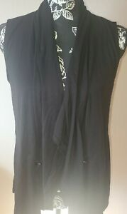 NWT-MAURICES-LADIES-BLACK-KNIT-CASUAL-DRAWSTRING-WAIST-VEST-MEDIUM-FREE-SHIPPING