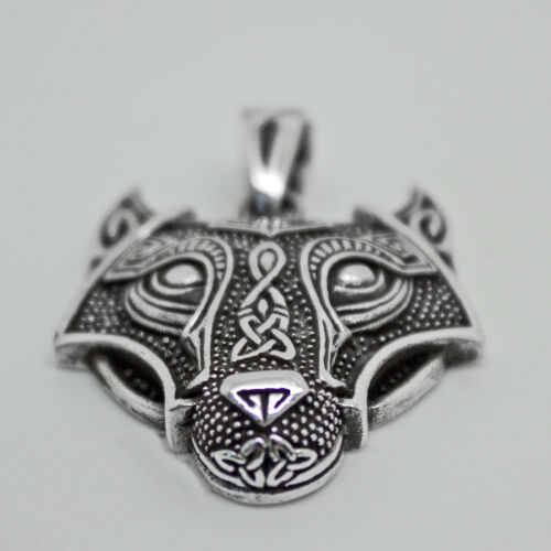 925 solid Sterling Silver Celtic Wolf with Triquetras and Renewal symbol pendant
