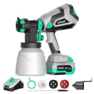 Litheli 20V HVLP Paint Sprayer Gun for Home Car 4.0Ah Battery & Charger Included