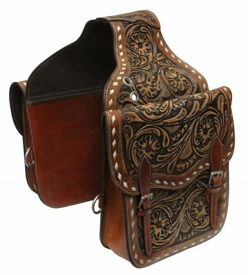 Showman SADDLE BAG Medium Oil FLORAL Tooled Leather with Buckstitch 10 x10 x3