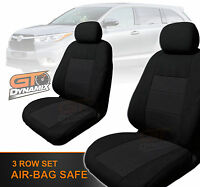 Custom Made Black Seat Covers To Suit Toyota Kluger F+m+r 03/2014 To 2016 Gsu50r