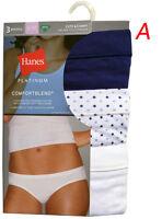 "Hanes PLATINUM Women's  Bikinis 3-PACK  ""TAGLESS""CUTE & COMFY"" 42B3WD COTTON NEW"