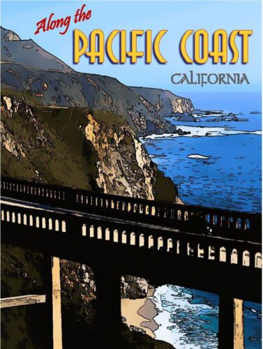 Pacific Coast Hwy California United States America Travel Advertisement Poster
