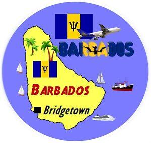 Barbades-Carte-Drapeau-Grand-Rond-Nouveaute-Souvenir-Frigo-Aimant-Neuf