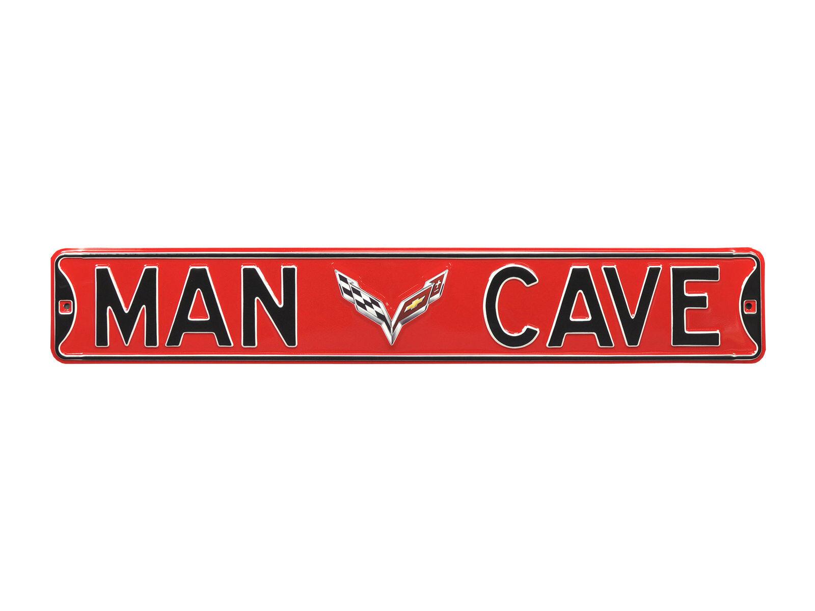 Corvette rot  Man Cave  Straße Sign with C7 Logo