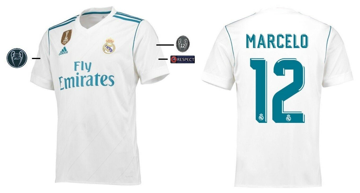 Trikot Adidas Real Madrid 2017-2018 Home UCL - Marcelo 12 [152-XXL]