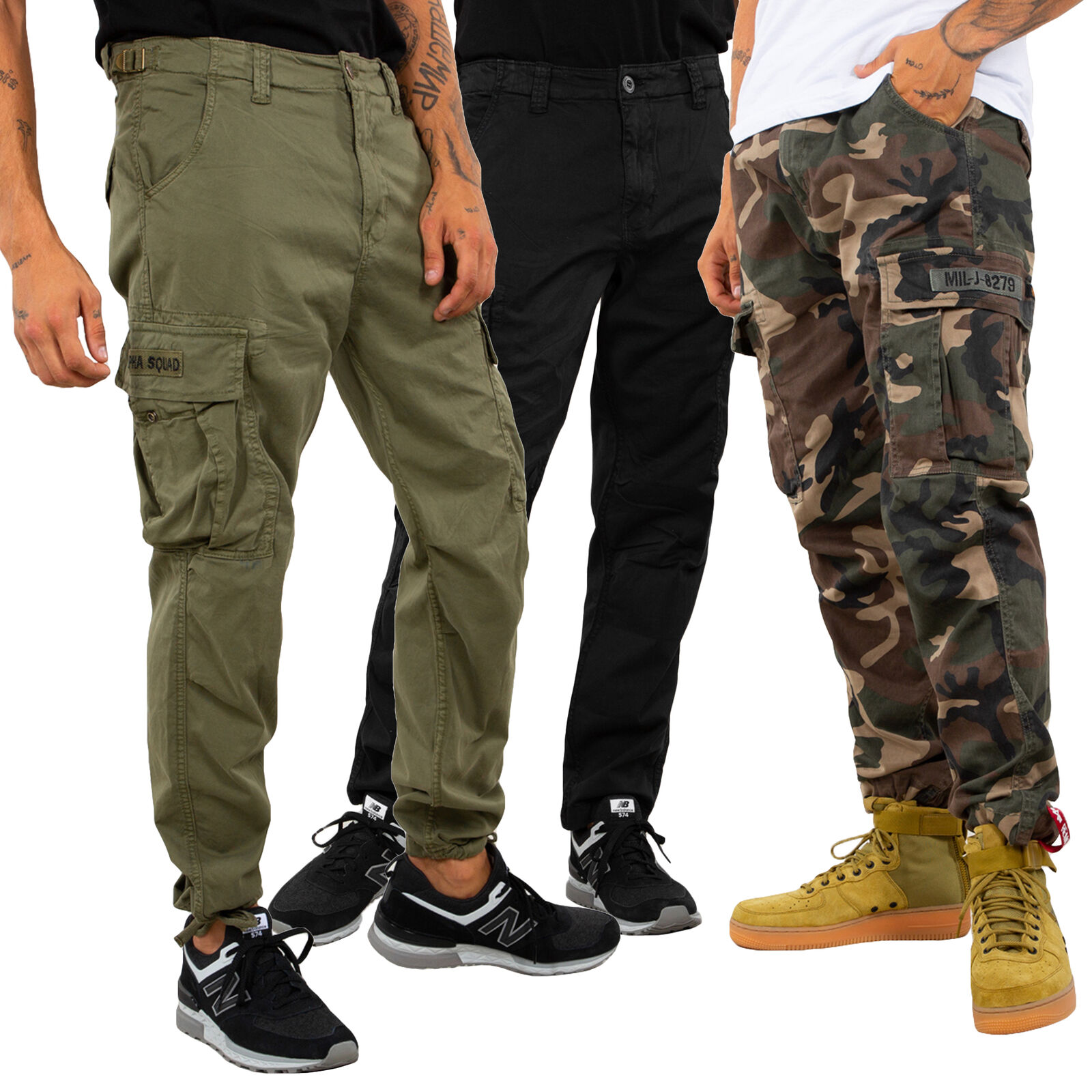 Alpha Industries Men's Cargo Pants Squad Trousers Size Wide 29 to Wide 38 New