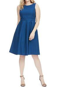 ModCloth-Cuello-Bote-Midi-vestido-ajustado-y-acampanado-sin-mangas-para-mujer-azul-1X-B1-15