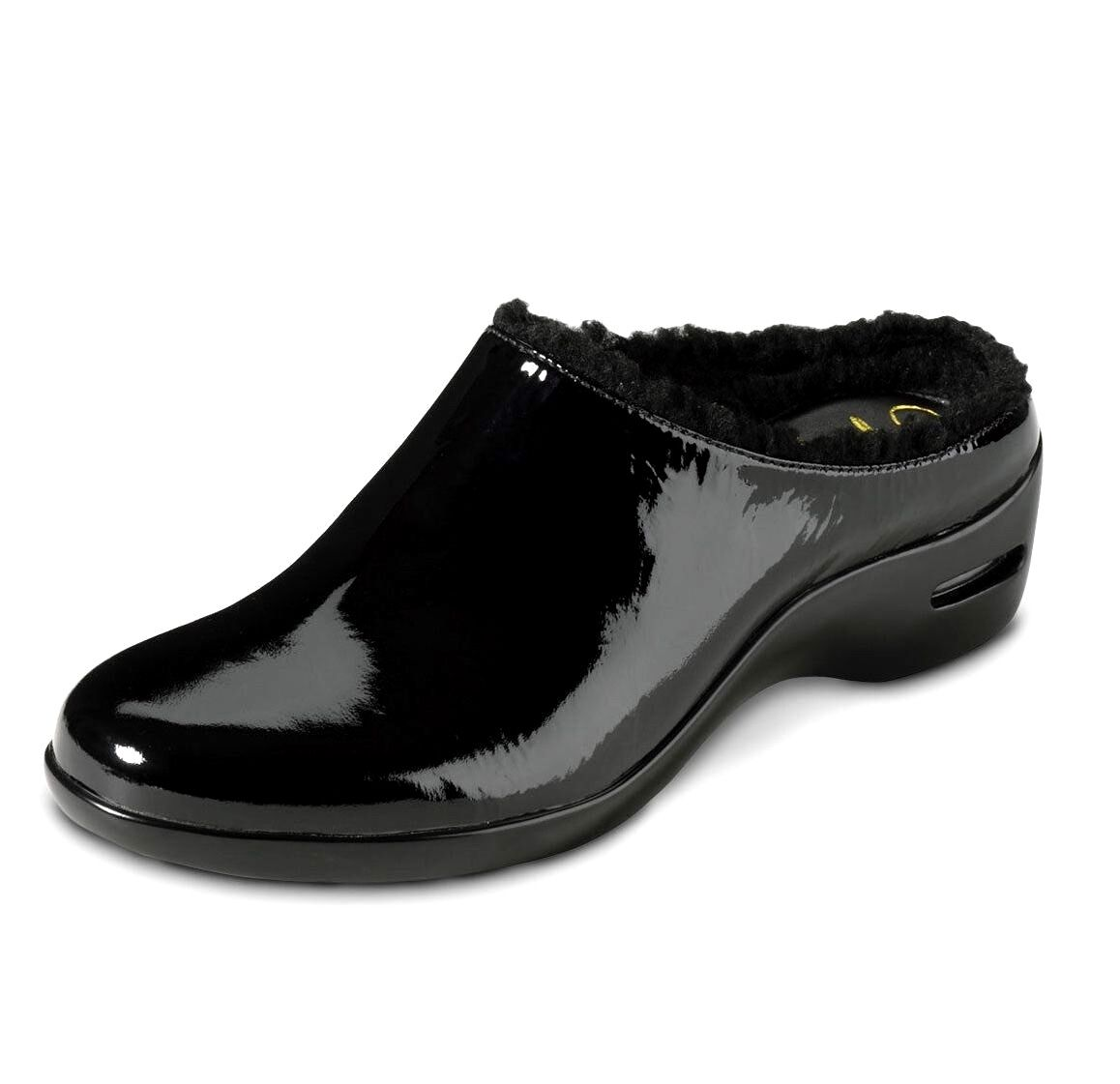 Cole Haan Women's Black Patent Leather Air Reena Shearling Slip On Clogs 6.5