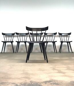 Details About Paul Mccobb Planner Group Set 6 Black Dining Chairs Mid Century Spindle