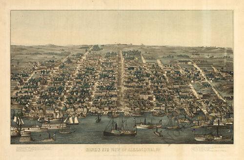 View of Alexandria Virginia c1863 map 24x16