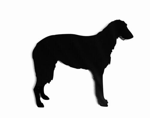 Deerhound Escocés Perro Broche Insignia Con Pin Bufanda Sujetador Regalo En Negro