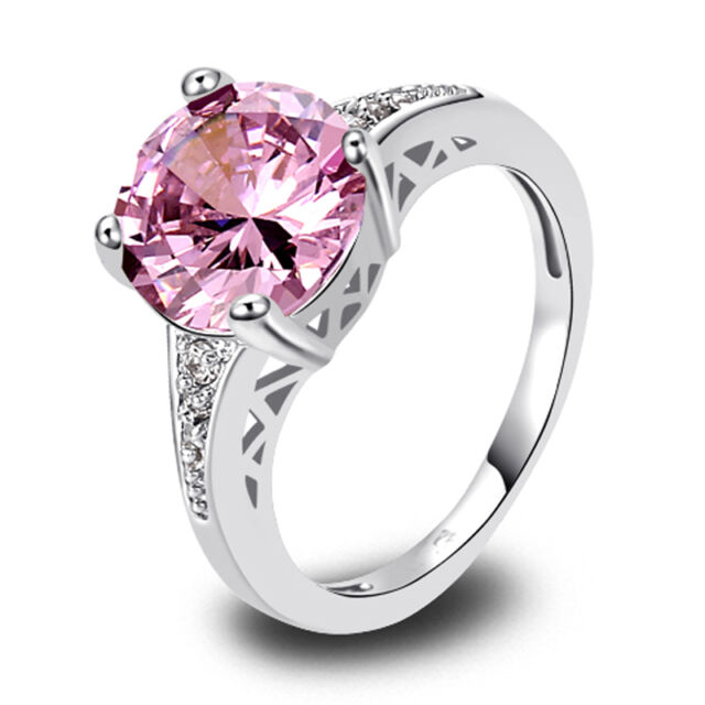 Classical Pink & White Topaz Gemstone Women Silver Ring Size 6 7 8 9 10 11 12