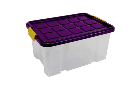 Aufbewahrungsbox Kunststoff Plastik  30x19x14cm transparent mit Deckel brombeer