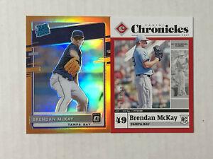 BRENDAN McKAY LOT OF 2 2020 Optic ORANGE PRIZM RC /100 + Chronicles RED RC /100!