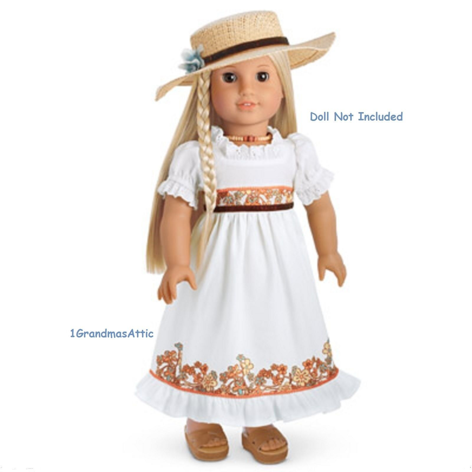 American Girl Julie's Geburtstag Kleid Outfit Hut Nib Party ohne Puppe Schuhe