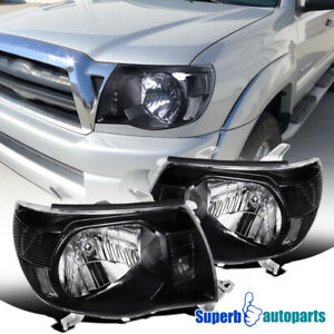 For-2005-2011-Toyota-Tacoma-JDM-Crystal-Headlights-Lamps-Black-Reflectors