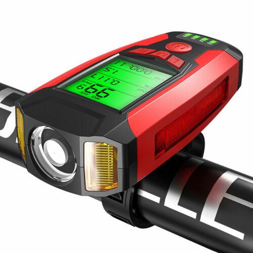 Speed Meter LCD Screen 5-M USB Horn Lamp BIKIGHT 3-in-1 350LM COB Bike Light